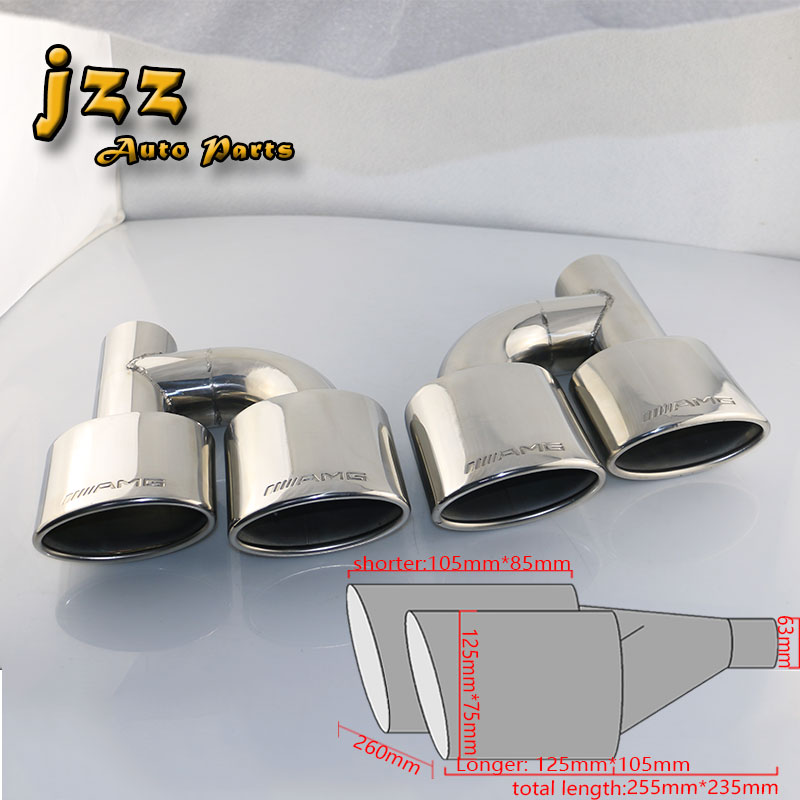 JZZ 1set engraved amg exhaust tip straight-through muffler for car silencer 63mm inlet chrome silver pipe tube nozzle sound bomb turbo sound exhaust muffler pipe whistle blow off bov simulator whistler silver size l
