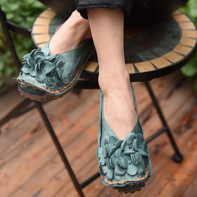 Original Spring 2017 New Female Flower Genuine Leather Shoes Flat Shoes Handmade Vintage Women Shoes Y5303L