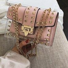 Маленькая прозрачная брендовая дизайнерская женская сумка, новая модная сумка-мессенджер, сумка на плечо с цепочками, женская прозрачная квадратная сумка из искусственной кожи с заклепками
