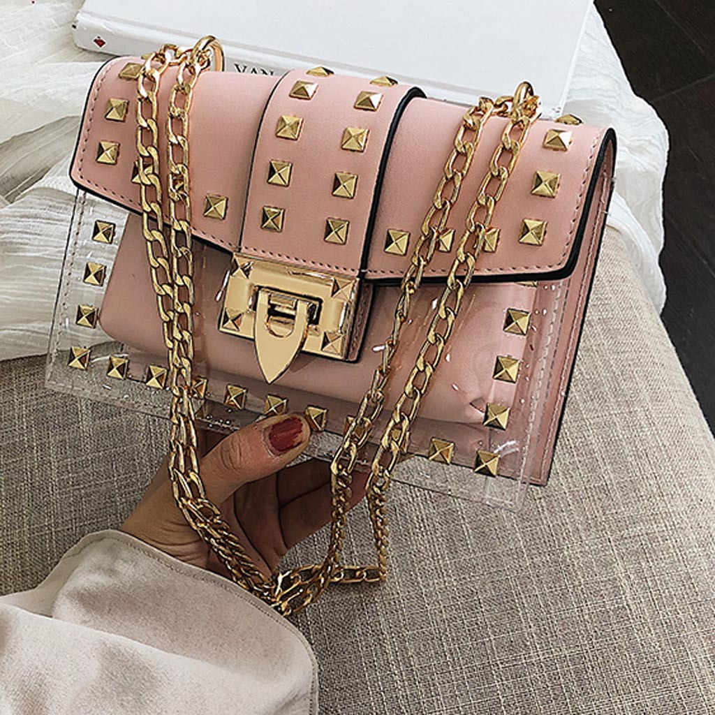 Small clear Brand Designer Woman 2019 New Fashion Messenger Bag Chains Shoulder Bag Female Rivets Transparent Square PU Handbag