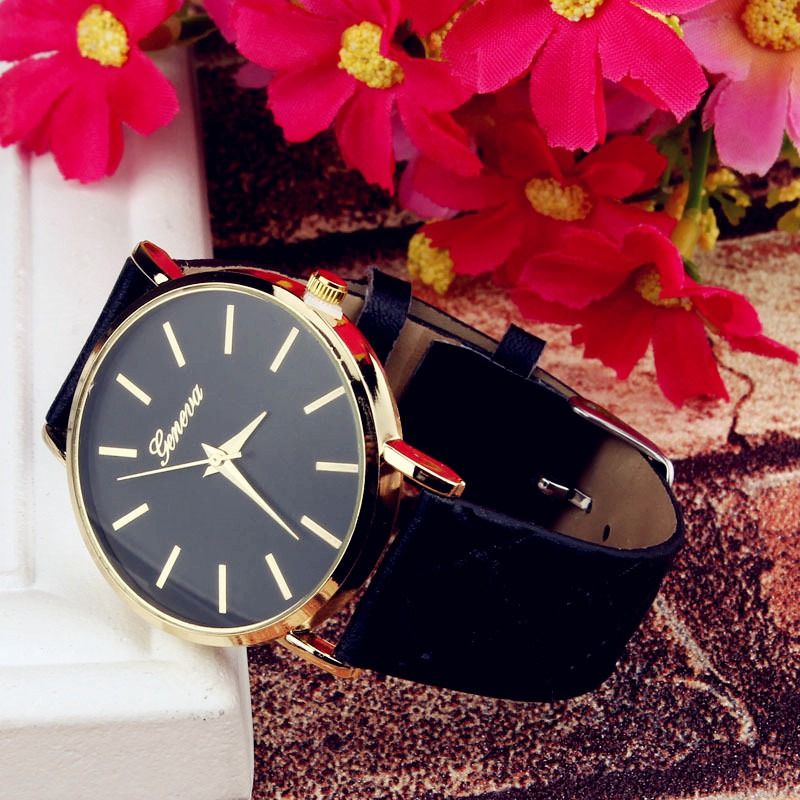 Fashion Casual Simple Couple Watch PU Strap Large Dial Watch Unisex