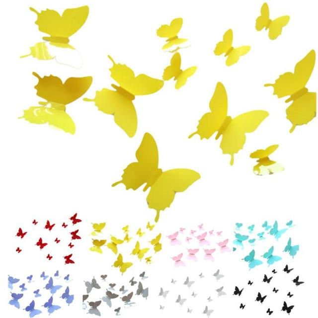 12pcs 3D Butterfly Wall Stickers Butterflies Docors Art Children DIY ...