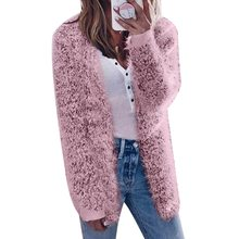 WENYUJH Women Clothes Fluffy Shaggy Faux Fur Cardigan Solid Color 2018 Winter Autumn Slim Long Warm Outwear Sweater Plus Size(China)