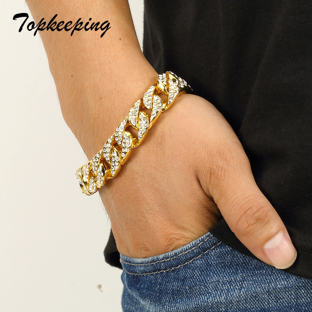 Mens Luxury Gold Color Iced Out Rhinestone Fashion Bracelets & Bangles Miami Cuban High Quality Link Chain Bracelet for Hip Hop 3
