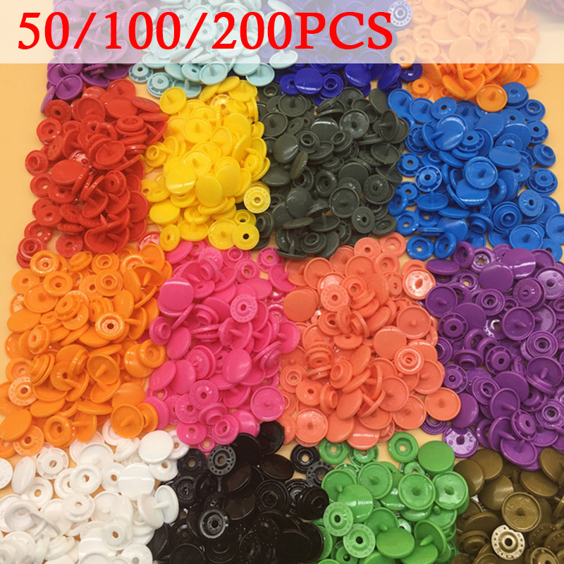 100/150/200 Sets Kam T5 12mm Baby Resin Snap Buttons Plastic Snaps Clothing Accessories Press Stud Fasteners 8 Colors Wholesale