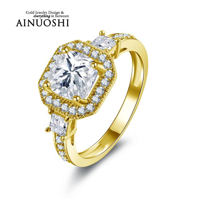 Ainuoshi 10 k sólido anillo de bodas de oro amarillo 1.6 ct de princesa cut Diamante simulado Anillos Bague Femme Joyas de oro 10 k de Calidad Superior