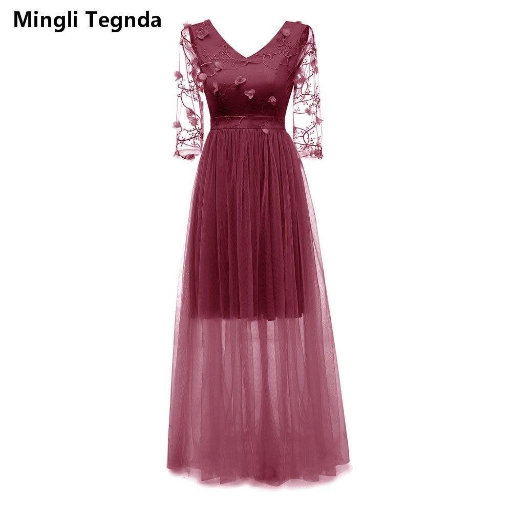 Mingli Tengda Burgundy Lace Bridesmaid Dress Wedding Party Dress Sexy Apricot Long Bridesmaid Dresses Candy Color Orange Pink