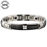 Noproblem 091 ion balance metal man bio health benifits beads charm tourmaline germanium bracelet
