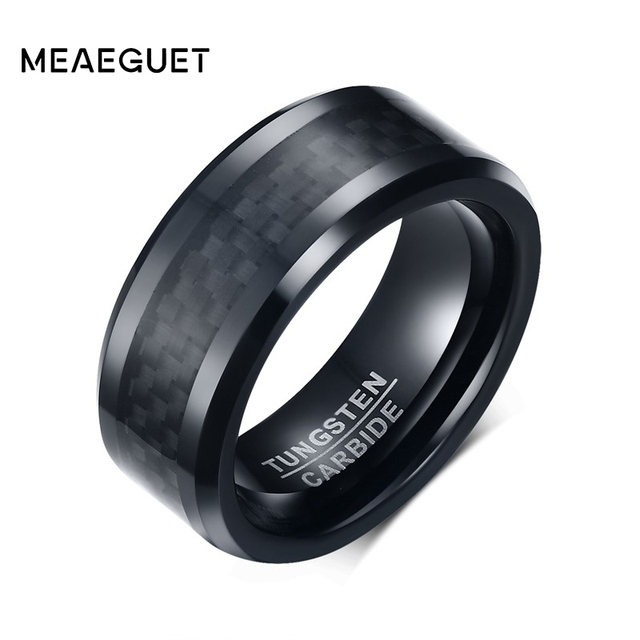 Meaeguet Black Carbon Fiber Tungsten Carbide Ring For Men Wedding Bands Engageme