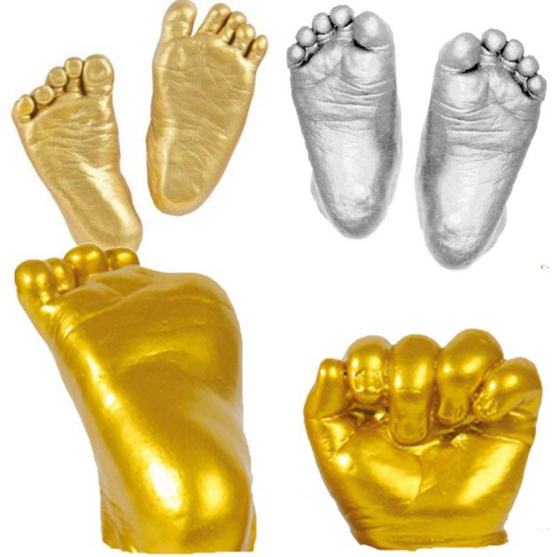 Baby 3D Hand Foot Print Mold Powder Plaster Casting Kit Handprint Footprint Keepsake Birthday Gift Infant Baby Growth Memorial