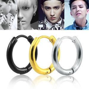 South Korea Popular Earrings 2 5mm wide Round GD Zhilong ear ring earrings titanium black male