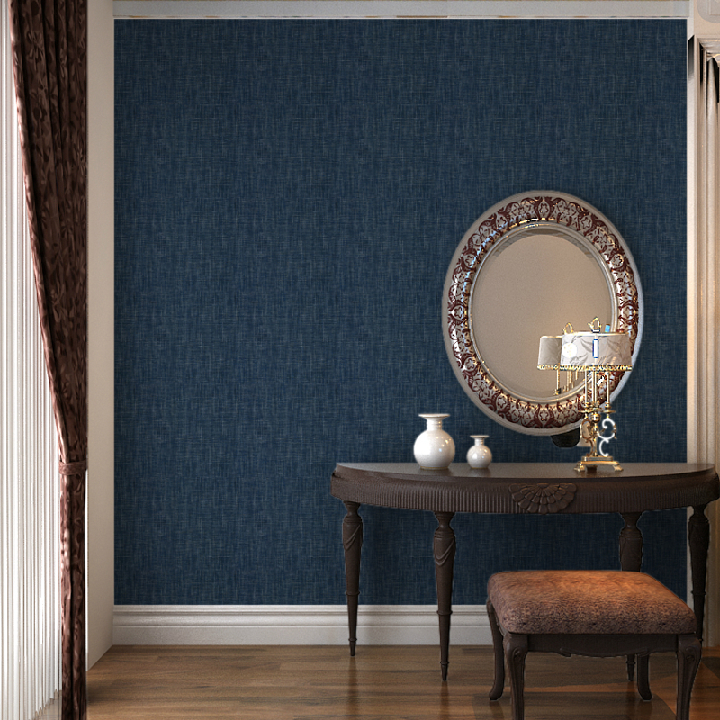Viny Embossed Linen Metallic Plain Textured Wallpaper Roll Modern Solid Color Navy Blue Wall Paper Wallcovering Waterproof 10M In Wallpapers From Home