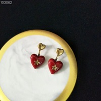 Brand design love red heart star earrings for women vintage style copper jewelry finger rings luxury brand fashion jewelry