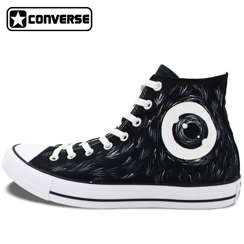 Prix pour Noir Converse Chuck Taylor Toile Chaussures Hommes Femmes Mamafaka Conception Peinte à la main Top Sneakers D'anniversaire Cadeau