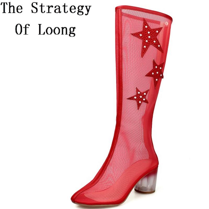 Натуральная кожа толщиной середины каблуки женщины вырезать колено высокие сандалии сапоги женщина Рыцарь Боевая лето вырез сапоги 34-39 SXQ0511