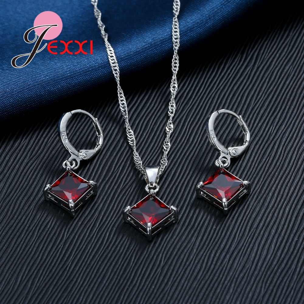 New Fashion Sederhana Persegi Kubik Zirkon 925 Sterling Silver Perhiasan Set untuk Wanita Pernikahan Aksesori 8 Warna