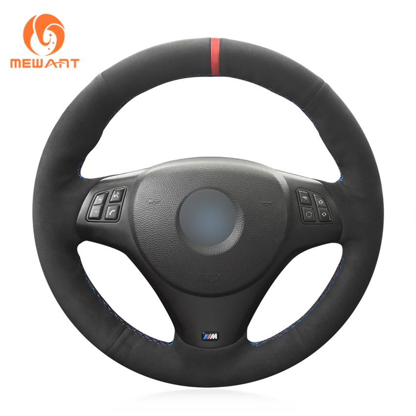MEWANT Comfortable Soft Durable Black Suede Genunie Leather Hand Sew Wrap Car Steering Wheel Cover for