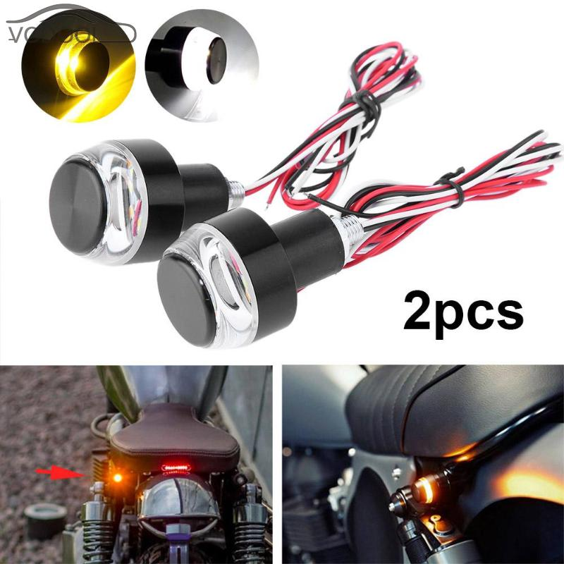 2Pcs 12V Motorcycle Handlebar End LED Turn Signal Light Amber Yellow White Moto Handle Bar Grip Plug Side Marker Lamp Accessory 4pcs black led front fender flares turn signal light car led side marker lamp for jeep wrangler jk 2007 2015 amber accessories