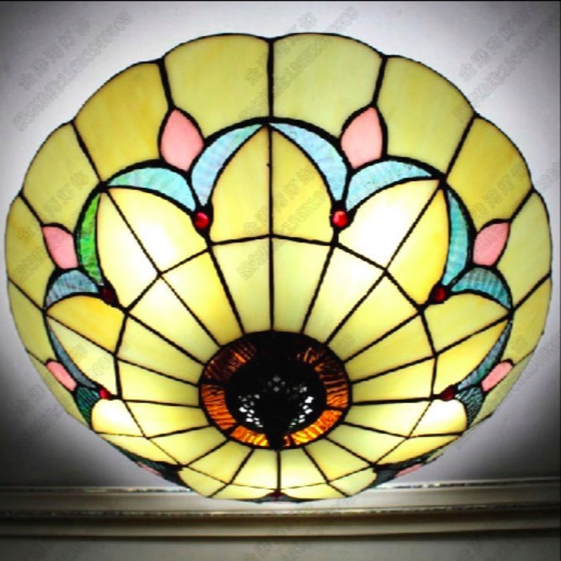 ФОТО Classical Handmade Tiffany 4 Colors Glass Led E27 Ceiling Light for Living Room Bedroom Aisle Balcony Dia 25/30/40/50/60cm 1632
