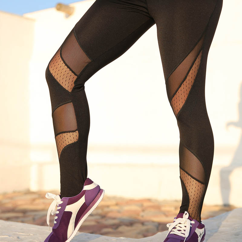 NORMOV Black New Fashion Womens Leggings Mesh Patchwork Skinny Slim Elastic Force Workout Leggings Capri Casual Fitness Leggings