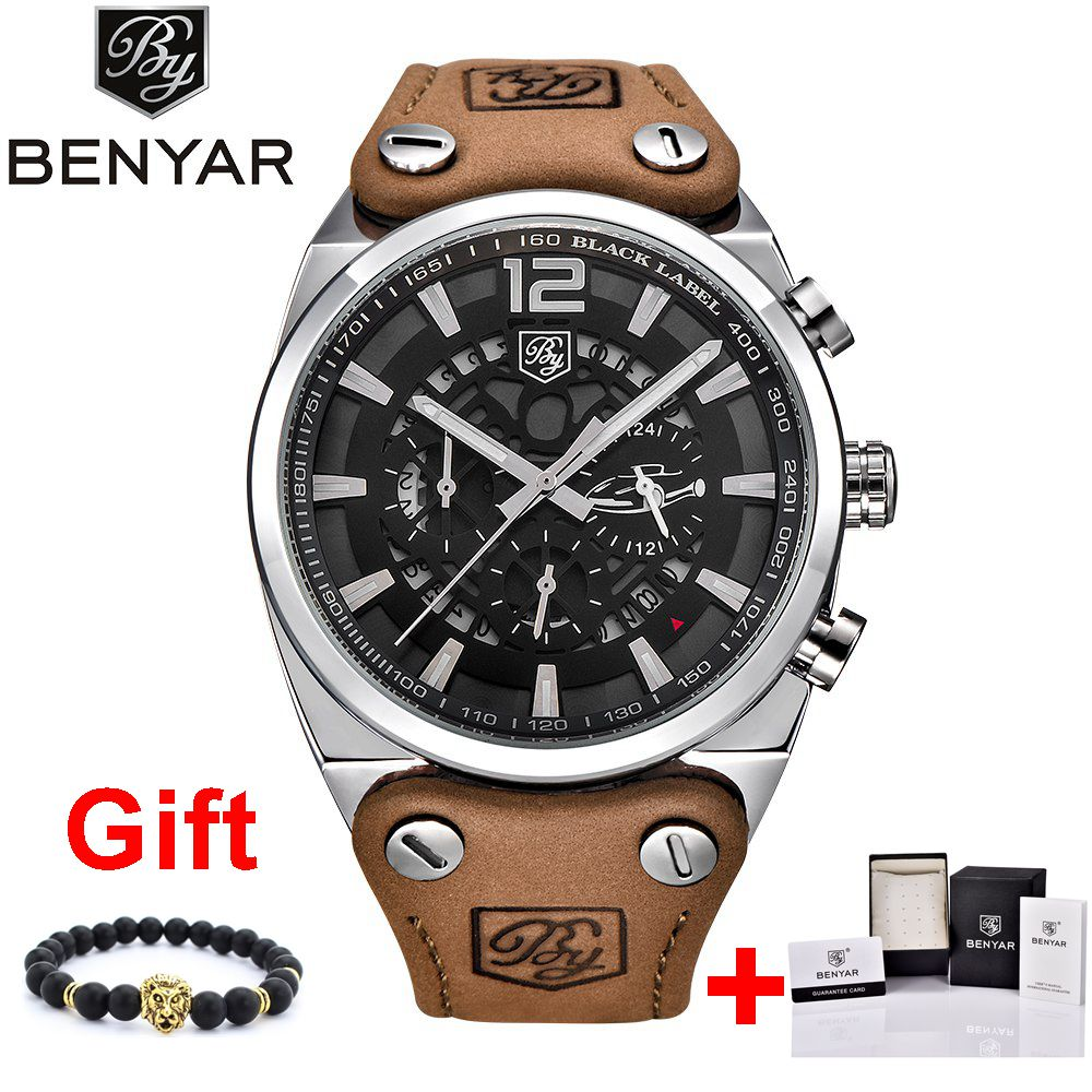 BENYAR Sport Men Watches Skeleton Military Chronograph Quartz Man Outdoor Big Dial Watch Army Male Clock Relogio Masculino SAAT
