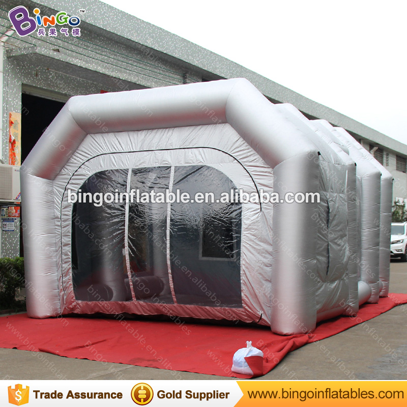 все цены на Free Shipping Light Silver Color Inflatable Painting Booth Hot sale 19.7X16.4X11.5 feet blow up spray paint booth toy tents онлайн