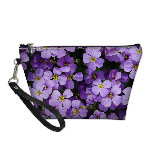 Lilac Purple Flower Print Women Comestic Bag for Travel Ladies Pu Leather  Make Up Storage Bags