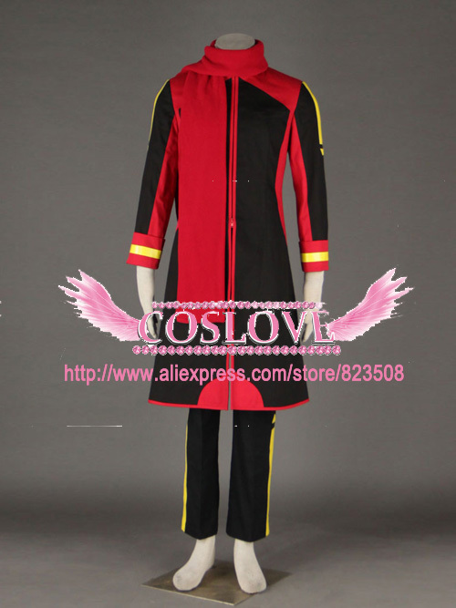 Made Qualité Haute Custom Rouge Costume Noir Akaito Cosplay 435LARj