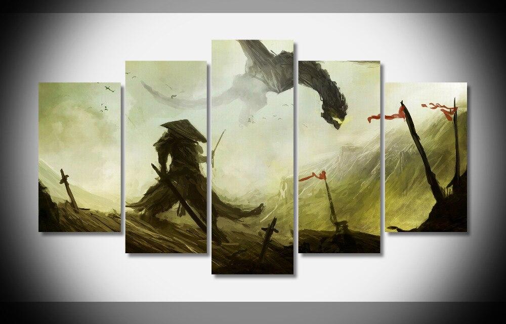 7355 Самурай Дракон битва мечи Фэнтези плакат деревянной рамке галерея wrap art печать домашнего декора стены подарок настенные картины