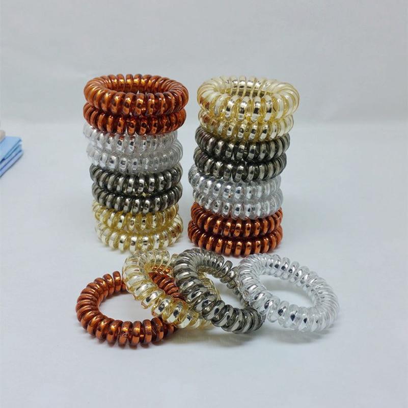 100pcs/lot 4 Colors 3.5cm Hair Accessories Telephone Cord Phone Plastic Strap Hair Band Hair Rope Hair Ties Headbands
