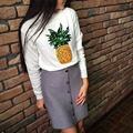 Harajuku 2016 Pineapple Sequins Embroidery Pullovers kawaii Sweatshirts vestidos Casual  suits Tops moletom feminino