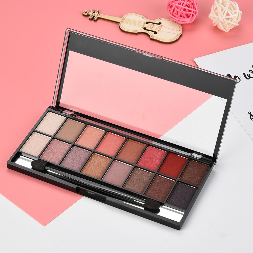 16 Colors Pearl Matte Eyeshadow Eye Shadow Palette & Makeup Cosmetic Brush Set Maquillage Yeux Palette 2019#SYS