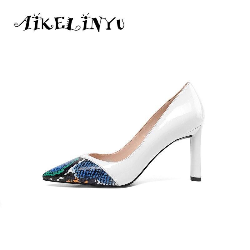 AIKELINYU Spring 2019 New Women Classic Single Shoes White High Heels Elegant Genuine Leather Black Shoe