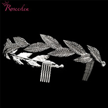 Elegant Rhodium Plated Crystal Bridal Wedding Long Hair Combs Headband Jewelry Tiara for Women RE3108