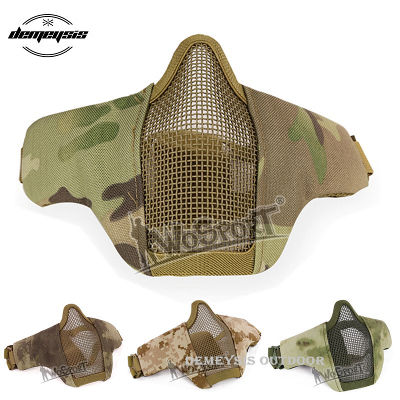 Airsoft Paintball Mask Half Face Tactical Combat Masks Protective Shooting Hunting CS Wargame Mask Hunting Accessories