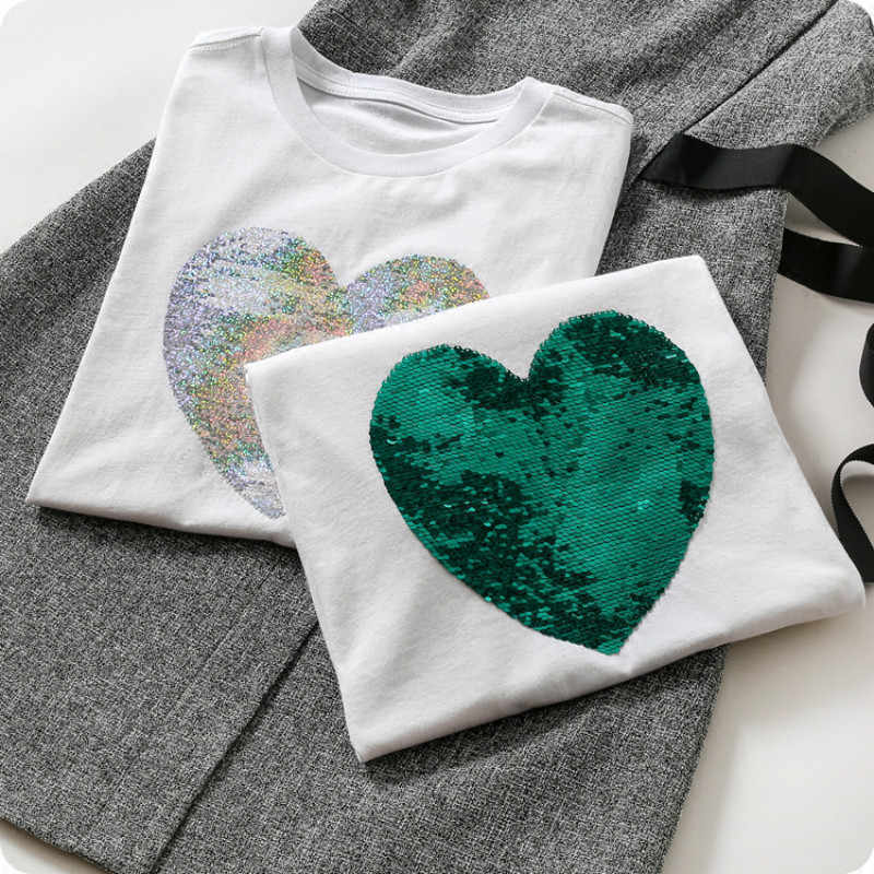 5573025995d3 Green Sequins Heart shape Cotton T-Shirts Reversible O-Neck Beading magical  color changing