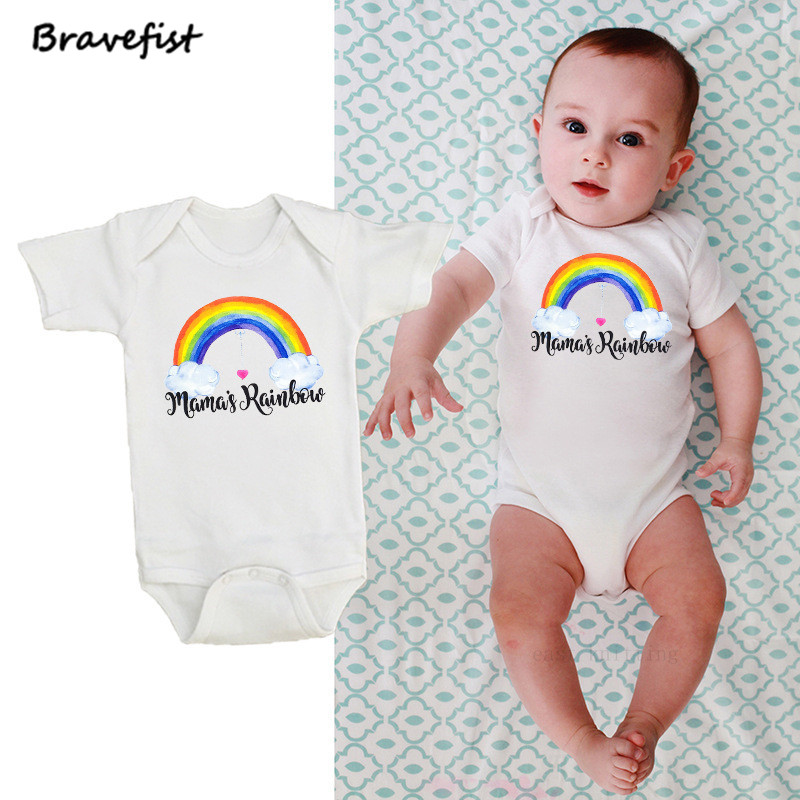 Cotton Short Sleeve Baby Rompers Rainbow Print Newborn Infant Clothing Toddler Boy Girls Jumpsuits Bebes Roupas Kids Outfits