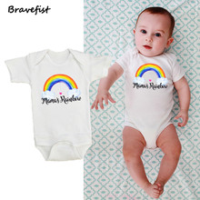 Girls Jumpsuits Outfits Rainbow-Print Bebes Newborn Baby Rompers Short-Sleeve Infant Clothing