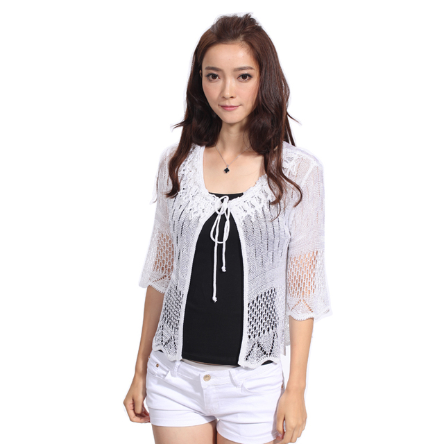 Brand New Fashion 2016 Women Shrug Summer Thin Style Short Sleeve Hand Knitted Three Color Fashion Style Shrugs Woman Hot Sale