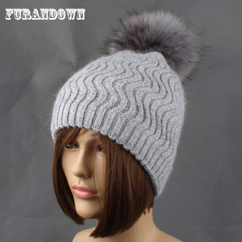 586711c22dcca5 women's winter knitted hats Rabbit fur wool Beanie female mink Raccoon Fur  pompom hats for women