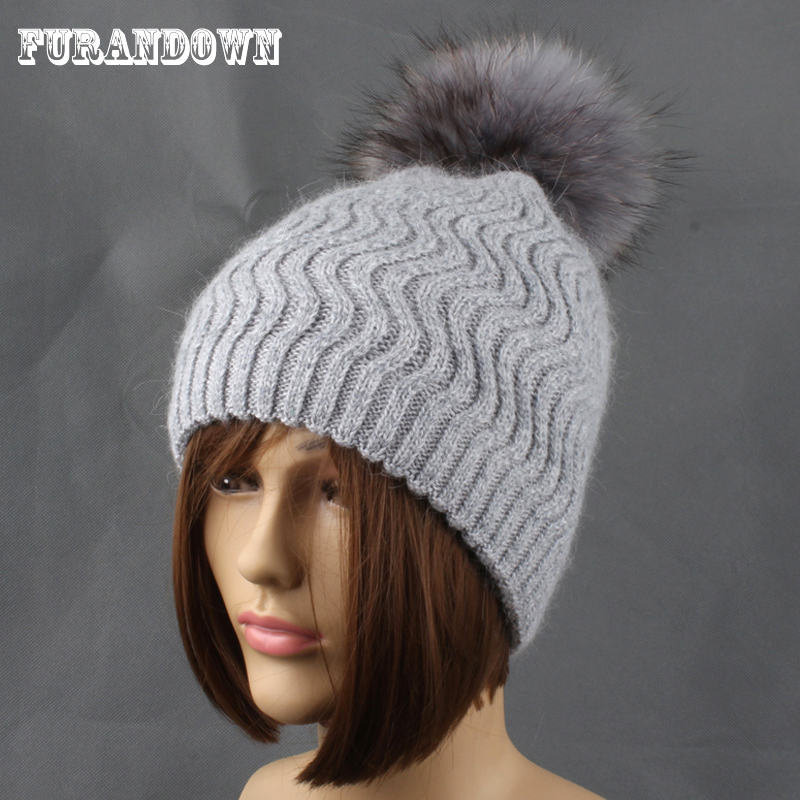 sombreros de punto de invierno para mujer Gorro de lana de piel de conejo Gorro de visón femenino Sombreros de pompón de piel de mapache para mujeres gorros