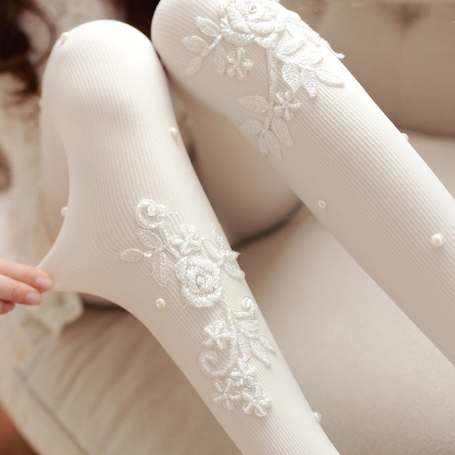 Beautiful White Rose Flower Tights Fashion Beads Embellished Pantyhose for Women