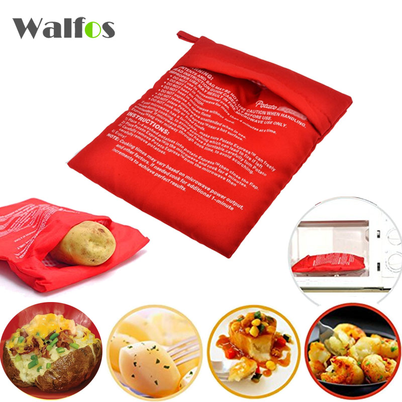 Walfos Industrial Company Limited WALFOS 1PC Washable Potato Bag For Microwave Oven Quick Fast (Cooks 4 Potatoes At Once) Steam Pocket In 4 Minutes Easy Cooking