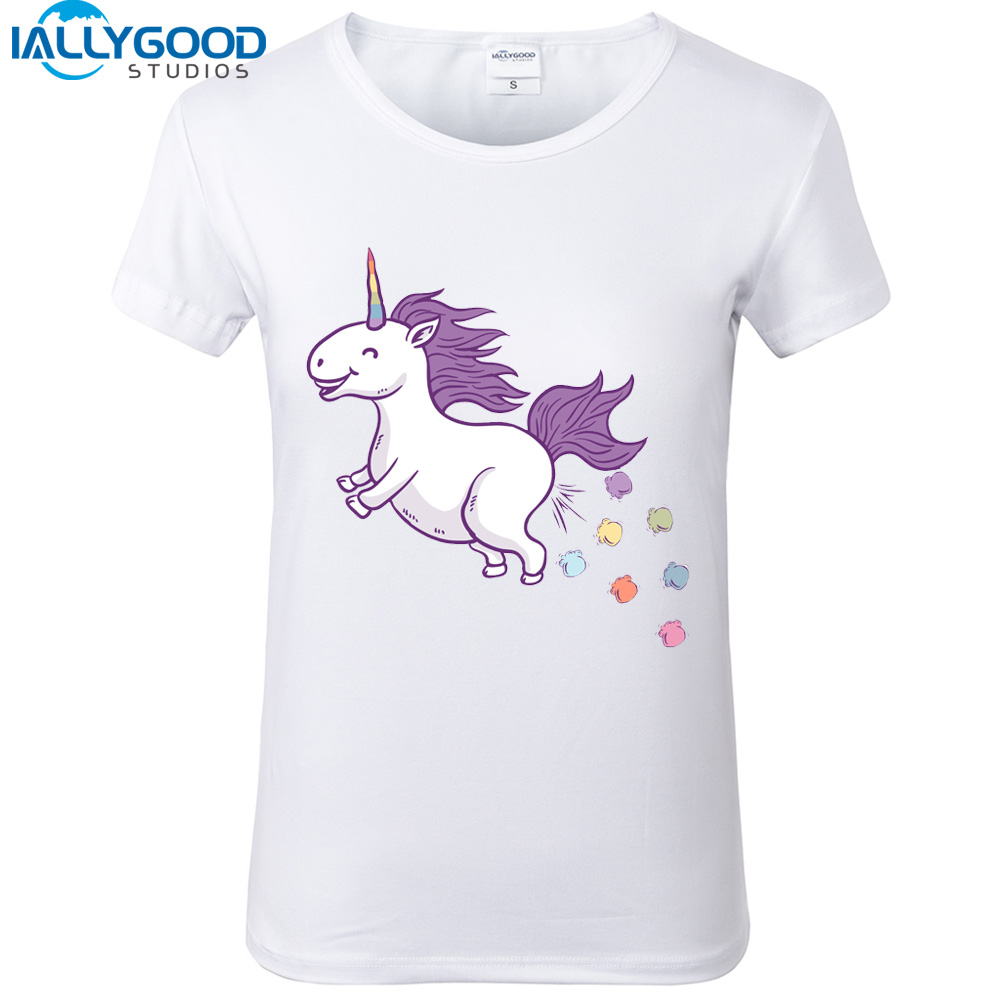 2017 New Summer Dr´le Licorne Impression T Shirts Femmes Kawaii de Bande Dessinée € Manches