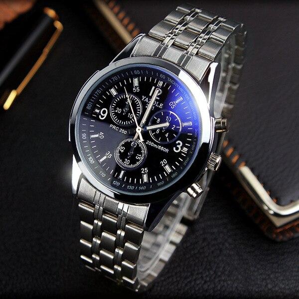 YAZOLE Voller Stahl Weiß Schwarz Blau Ray Zifferblatt 30 m Wasserdicht Leucht Hände Business Kleid Sport armbanduhr Uhren für männer Männlich