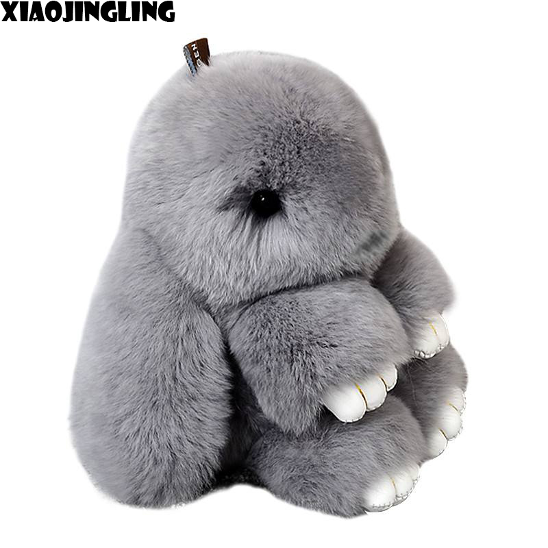XIAOJINGLING Hot Sale Cute Smooth Rabbit Key Ring Cute Fashion Fluffy Bunny Keychain Baby Toys Bag Car Accessories Lovely Gifts