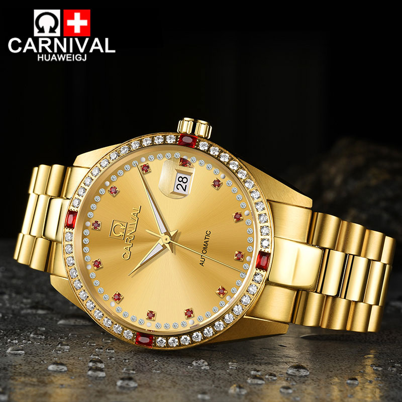 Carnival watches automatic mechanical watch gold stainless steel luminous calendar waterproof business men watch carnival watches automatic mechanical watch gold plated and stainless steel two tone male watch sports dive watches four colors
