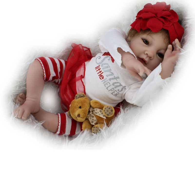 55cm baby reborn Silicone dolls very cute brown eyes doll with Striped pants girl bebe reborn dolls 0-8 years old holiday gift55cm baby reborn Silicone dolls very cute brown eyes doll with Striped pants girl bebe reborn dolls 0-8 years old holiday gift