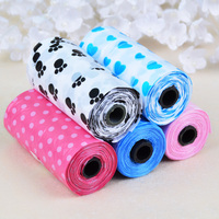 Free Shipping 15pcs 1 Roll Colorful PET DOG WASTE PICK UP POOP BAGS Biodegradable Clean Bags