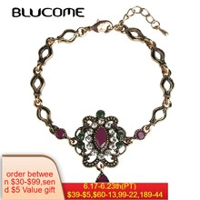 Blucome Vintage Turkish Flower Women Bracelets Antique Resin Crystals Red Waterdrop Bracelet Bangle Jewelry Pulseras Bijuterias(China)